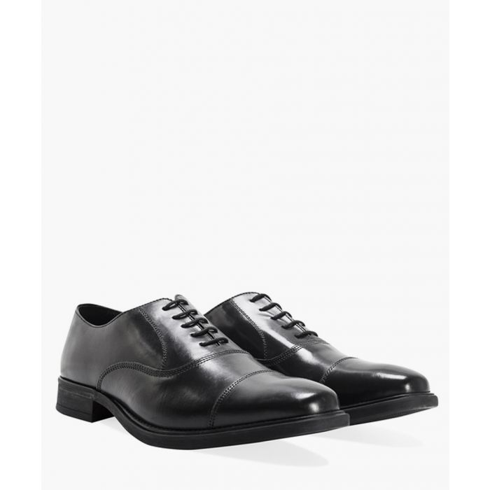 Image for Black plain toe cap leather Oxford shoes
