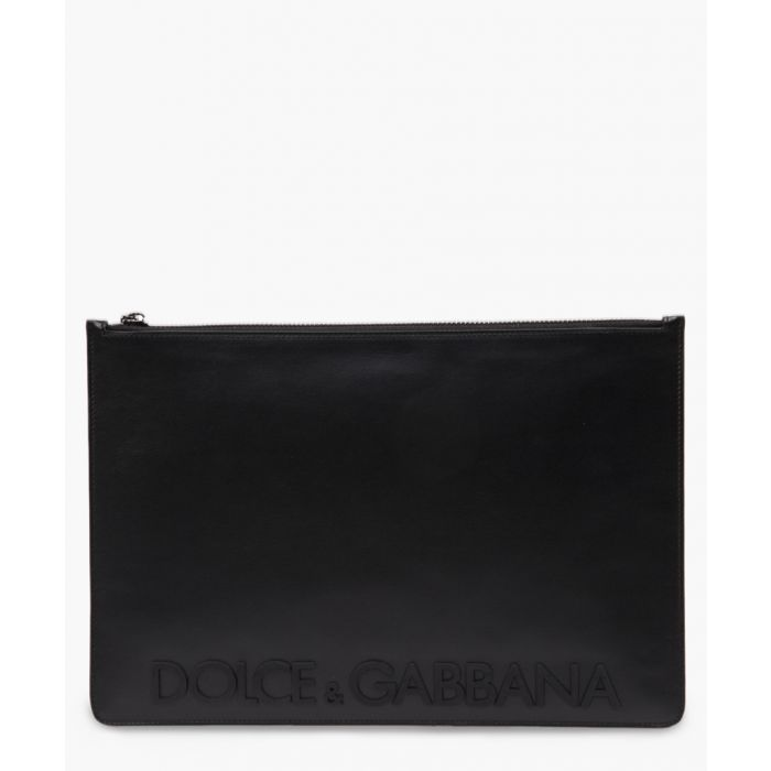Image for Black leather logo purse