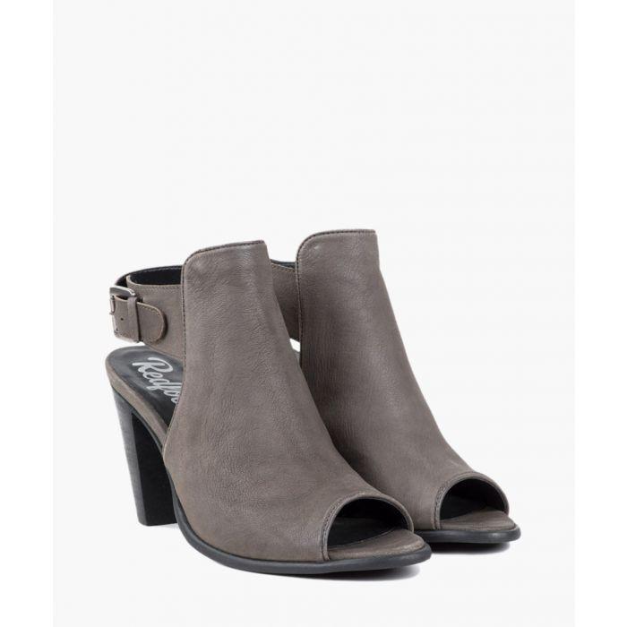 Image for Grey peep-toe heeled sandals