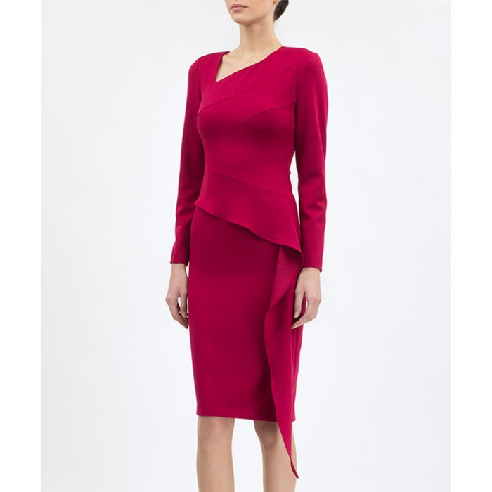 Image for Crimson asymmetric peplum dress