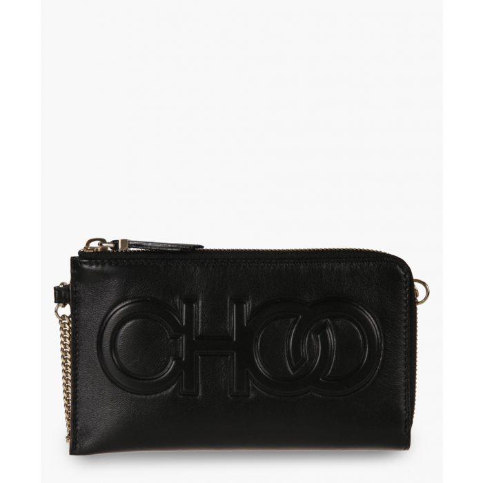 Image for Adelia black leather clutch