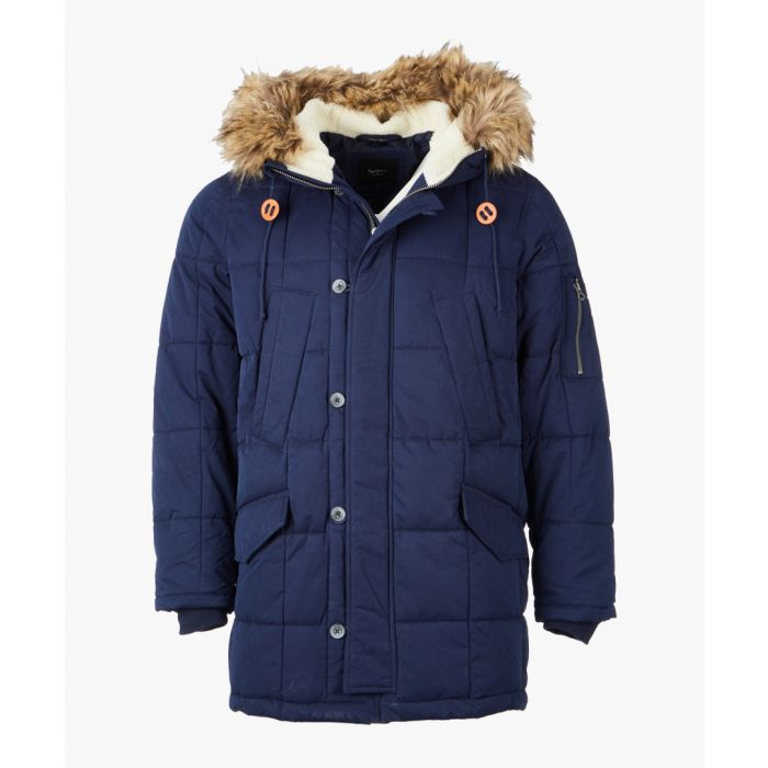 Image for Blue quilted hooded jacket