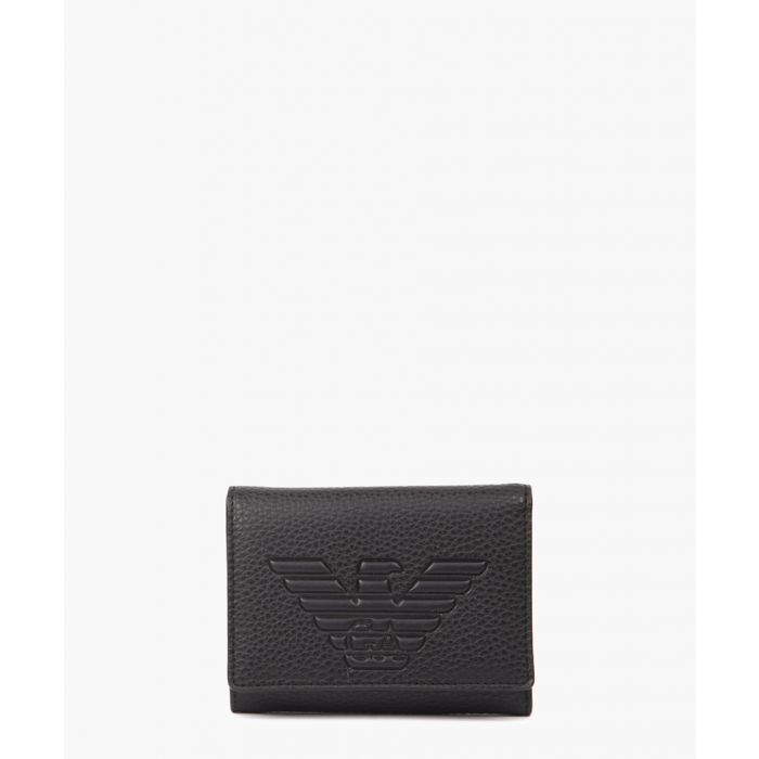 Image for Black faux leather embossed logo wallet
