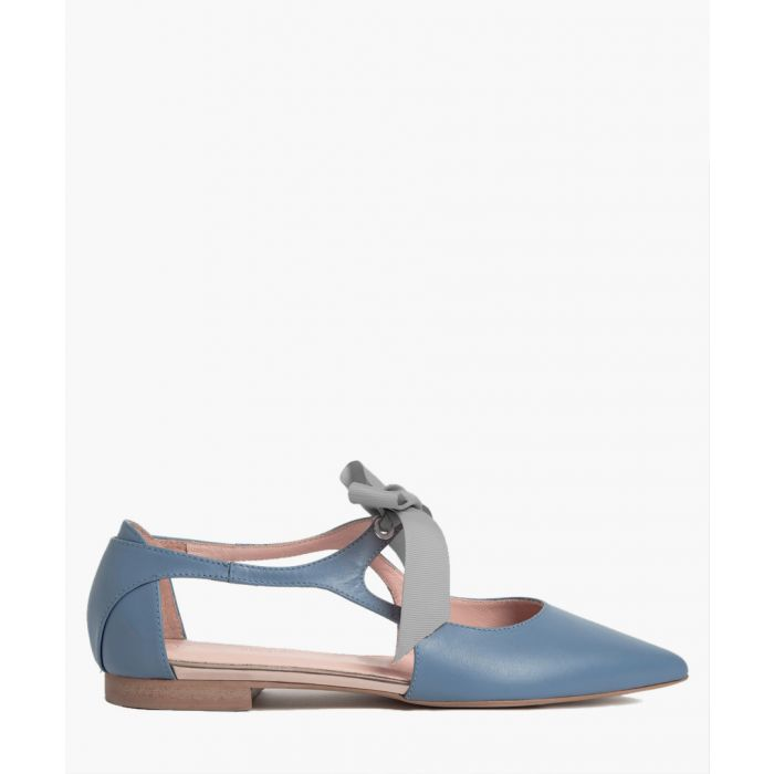 Image for Blue leather point ribbon ballet flats