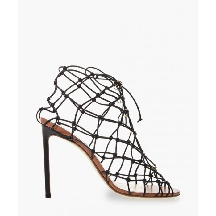 Image for Black leather fishnet sandals