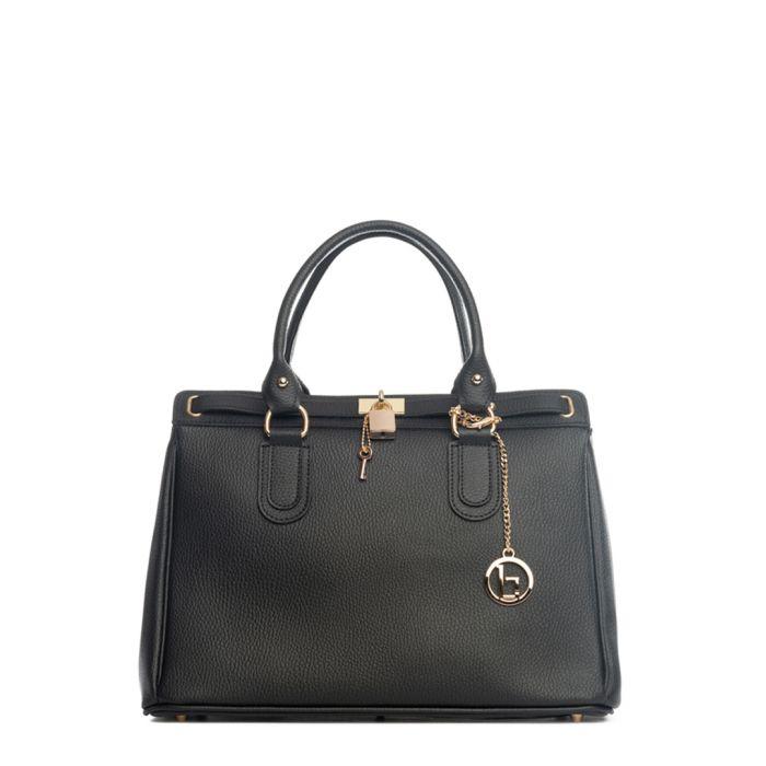 Image for Nure black leather grab bag