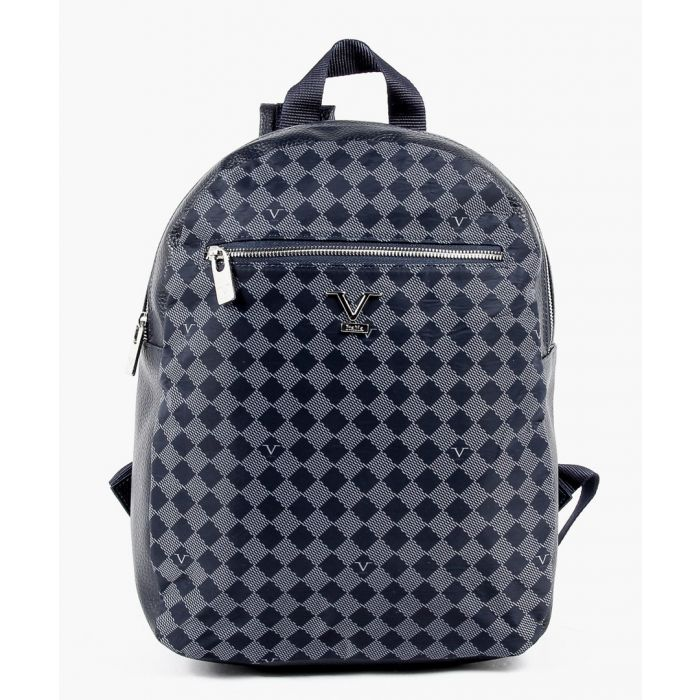 Image for Navy and grey patterned backpack