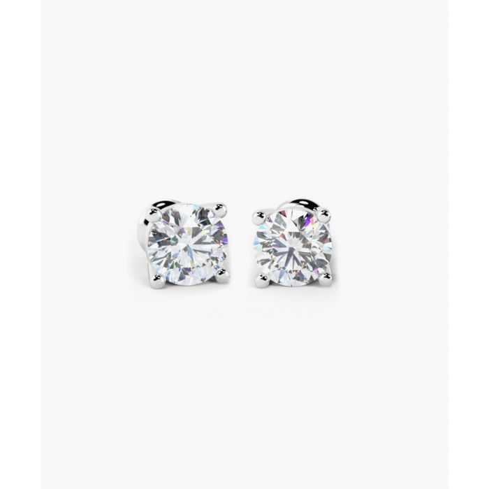Image for 18k white gold and 1.00ct round diamond stud earrings