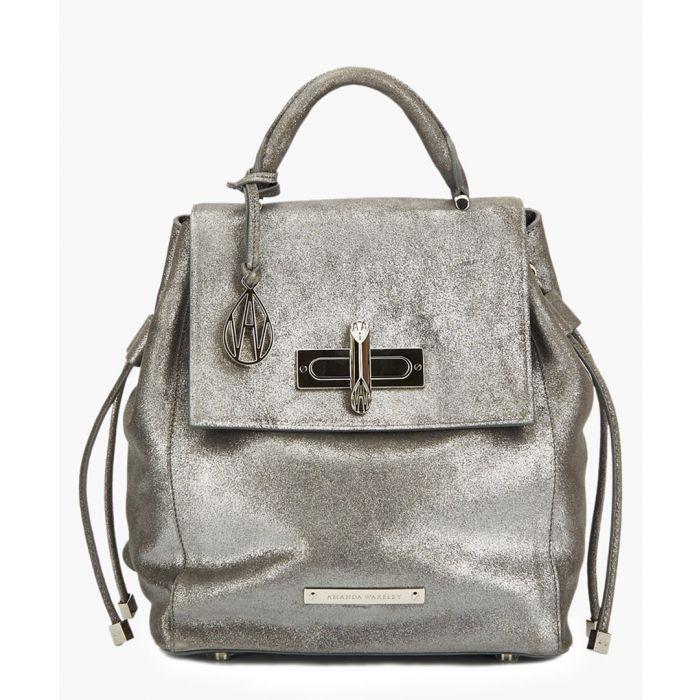 Image for Micro Mini Elba gunmetal grey leather backpack