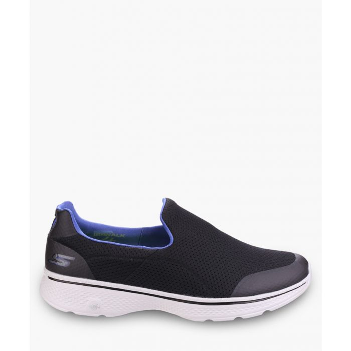 Image for Go Walk 4 black and blue slip-on trainers