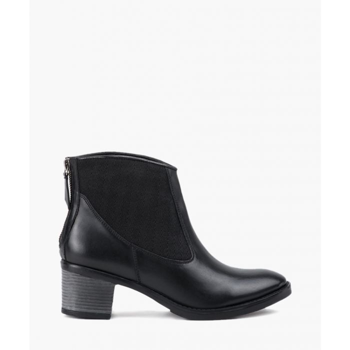 Image for Black elastic panel ankle boots