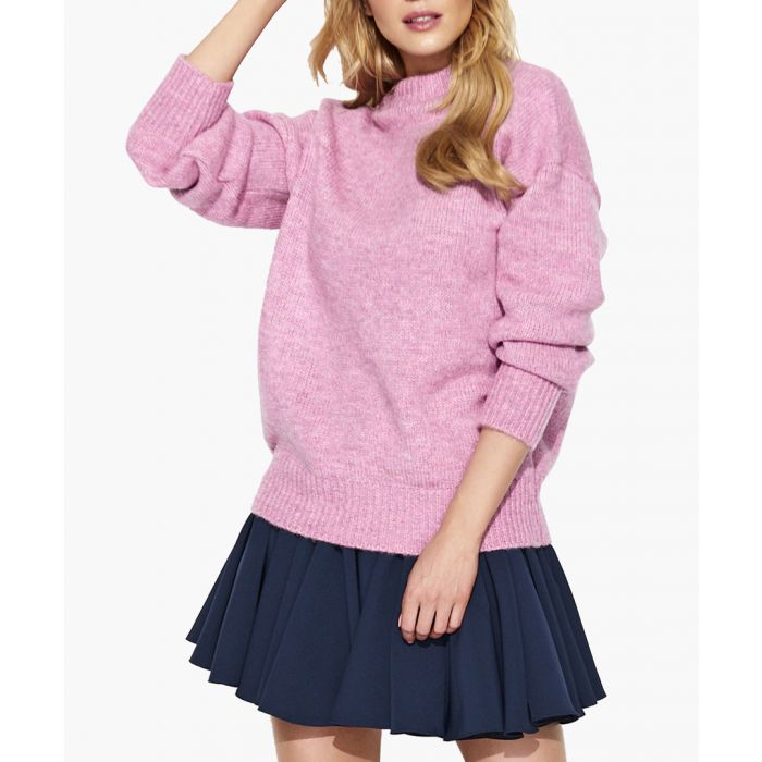 Image for Pink melange mohair and wool blend knitted sweater