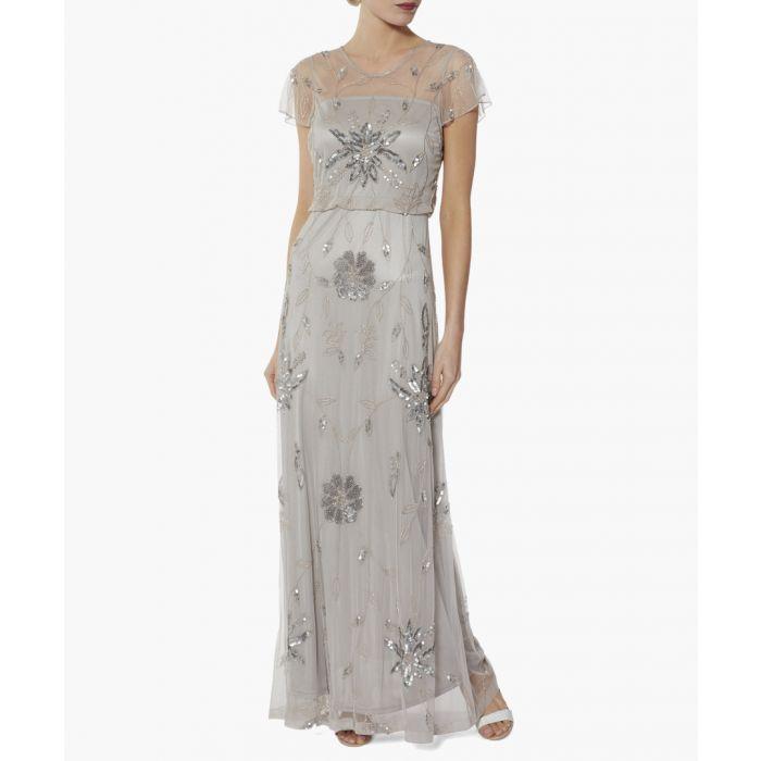Image for Silver mist niobe beaded maxi dress