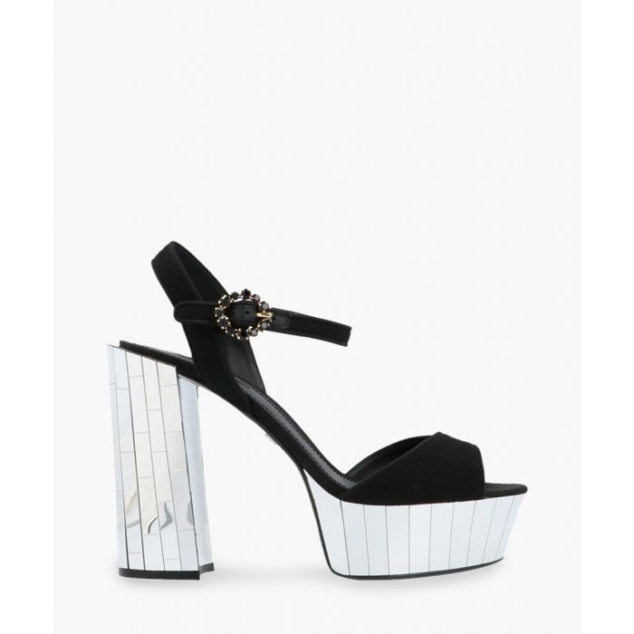Image for Keira wool crepe and leather platform sandals