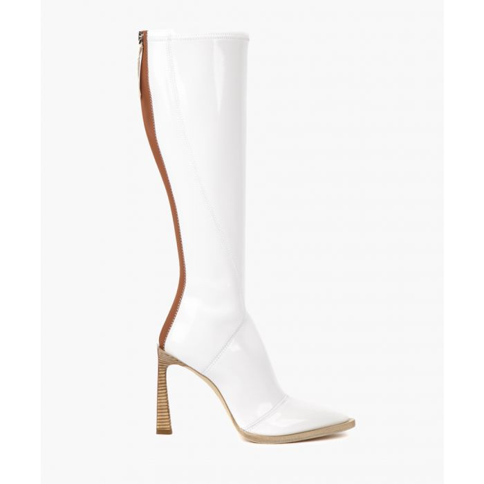 Image for Frame glossy white boots