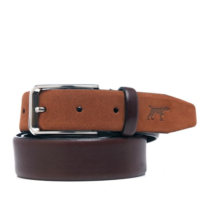 Image for Brown leather engraved belt