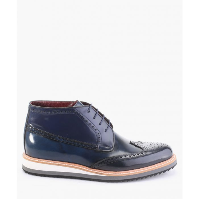Image for Blue leather chukka boots