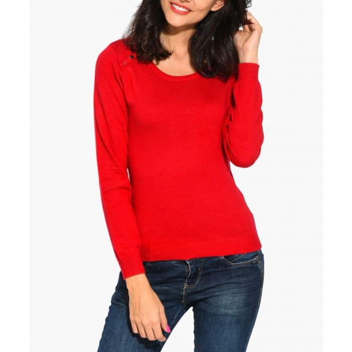 Image for Red cashmere and silk blend jumper
