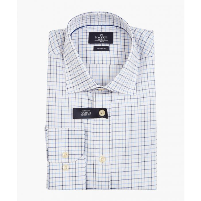 Image for Tattersall blue & cream check shirt