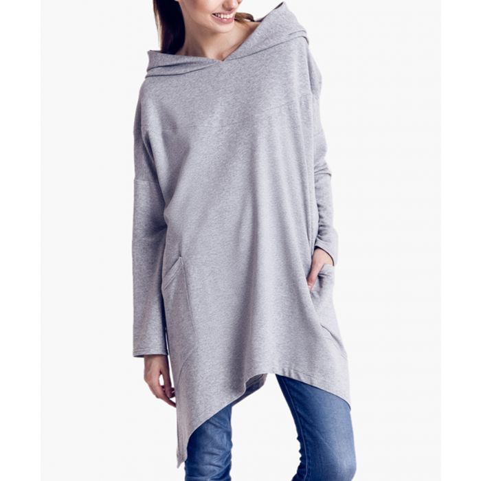 Image for Grey cotton oversized hooded poncho