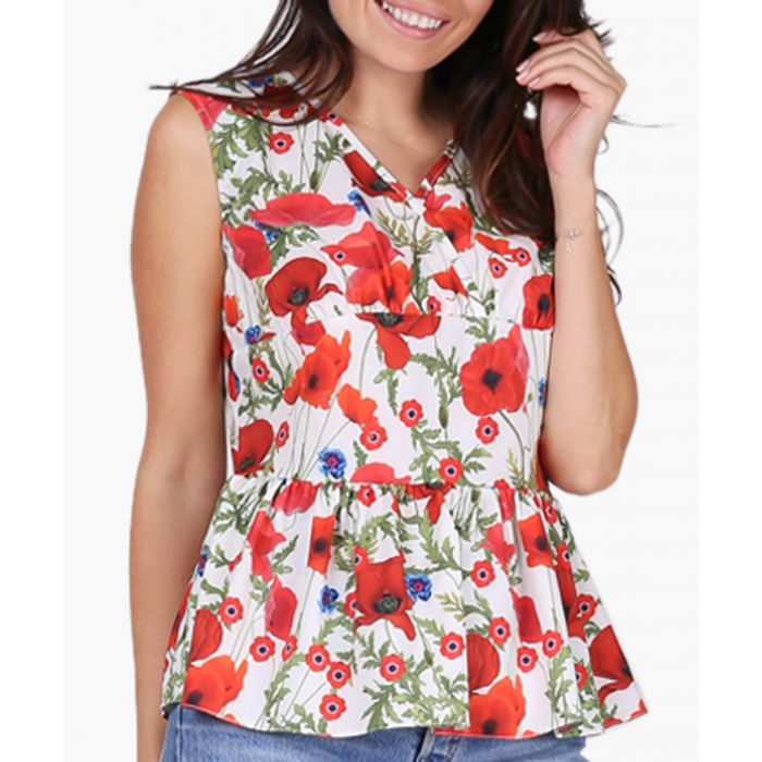 Image for Red & Poppies Woven Blouse