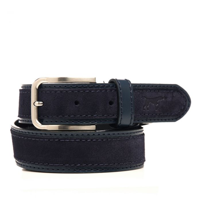 Image for Navy leather engraved belt