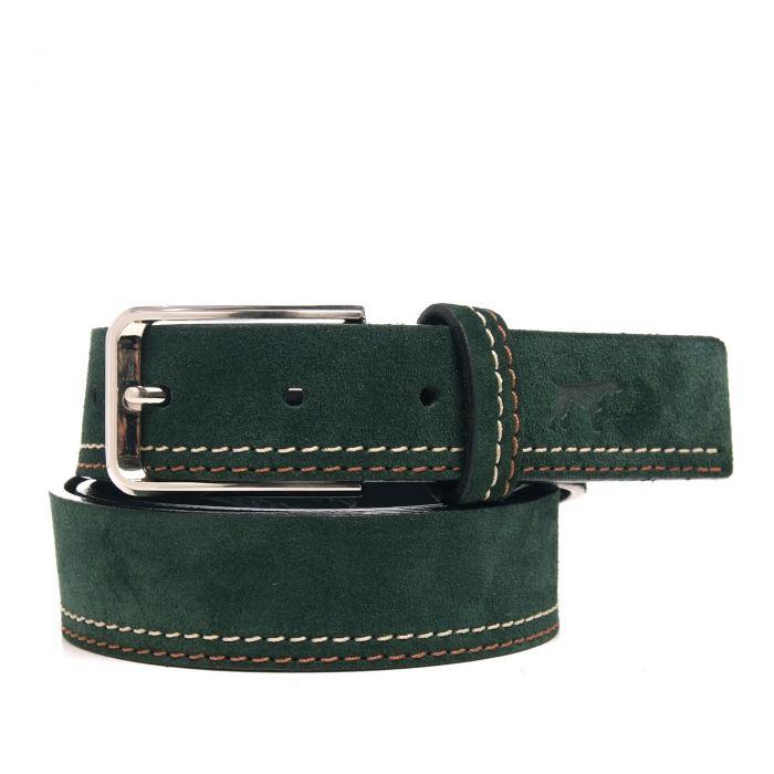 Image for Green leather engraved belt
