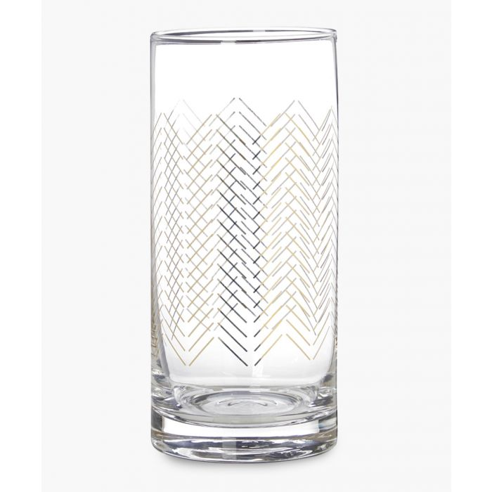 Image for 4pc Jazz gold-tone wave designed highball glasses