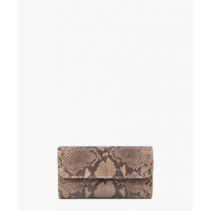 Image for Taupe leather clutch