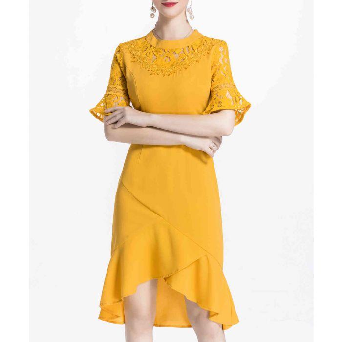 Image for Yellow hi-low ruffle hem dress