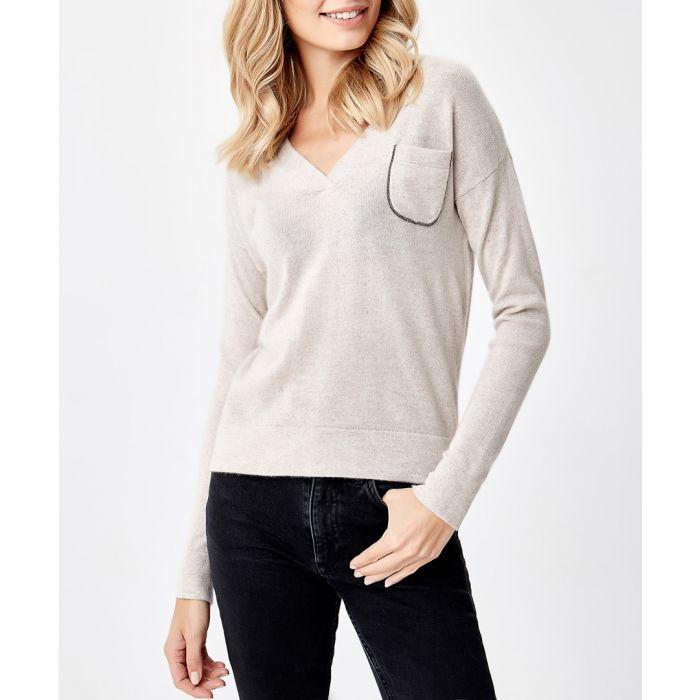 Image for Natural pure cashmere V-neck jumper