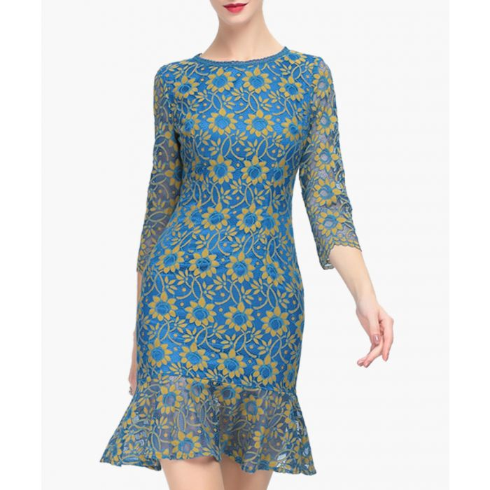 Image for Blue embroidered ruffle mini dress