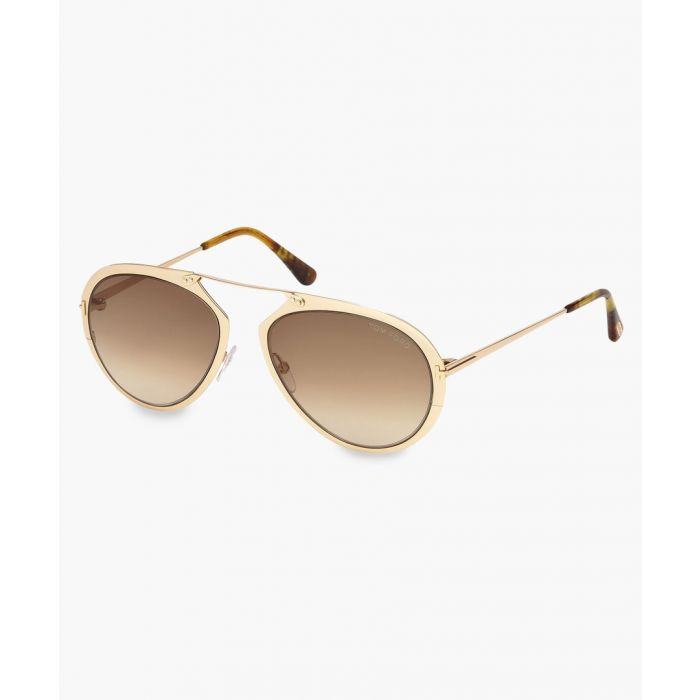 Image for Brown and gold-tone aviator sunglasses