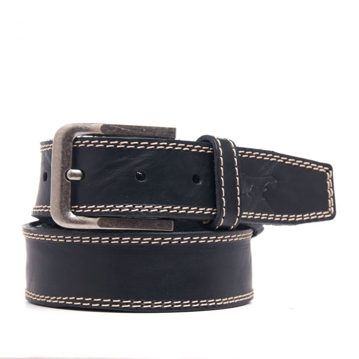 Image for Black leather engraved belt