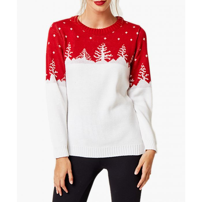 Image for White and red loose cut jumper