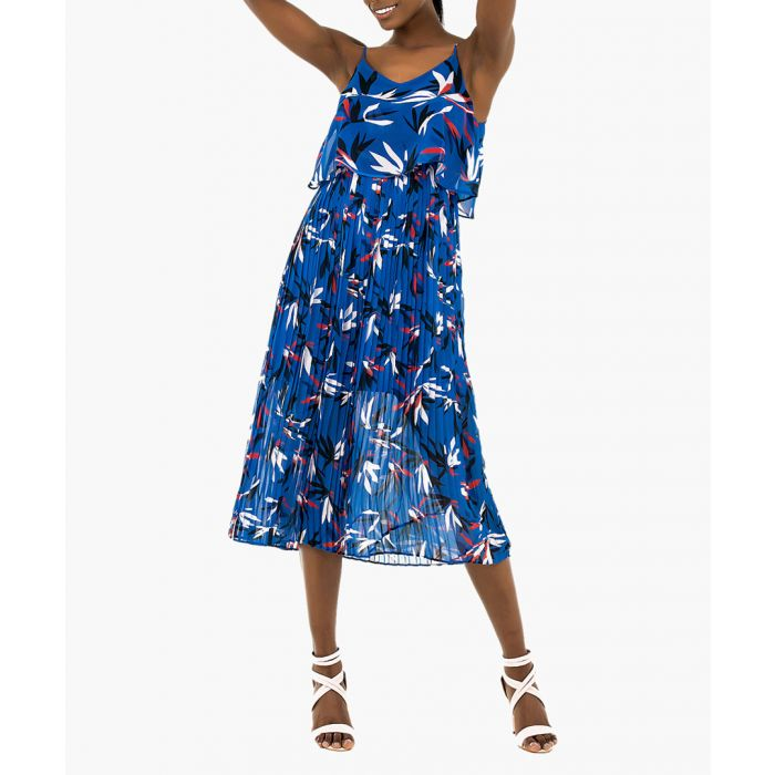 Image for Sax blue floral printed strap dress