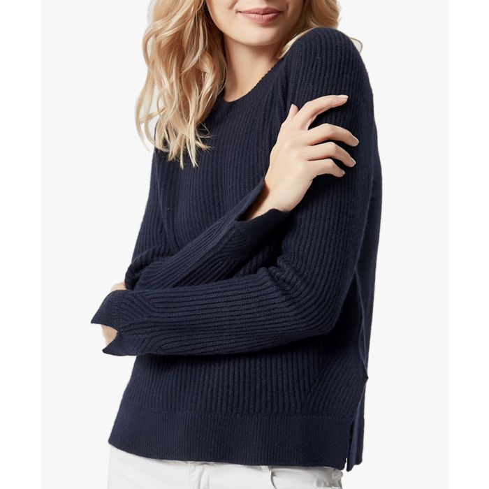 Image for Navy pure cashmere knitted jumper