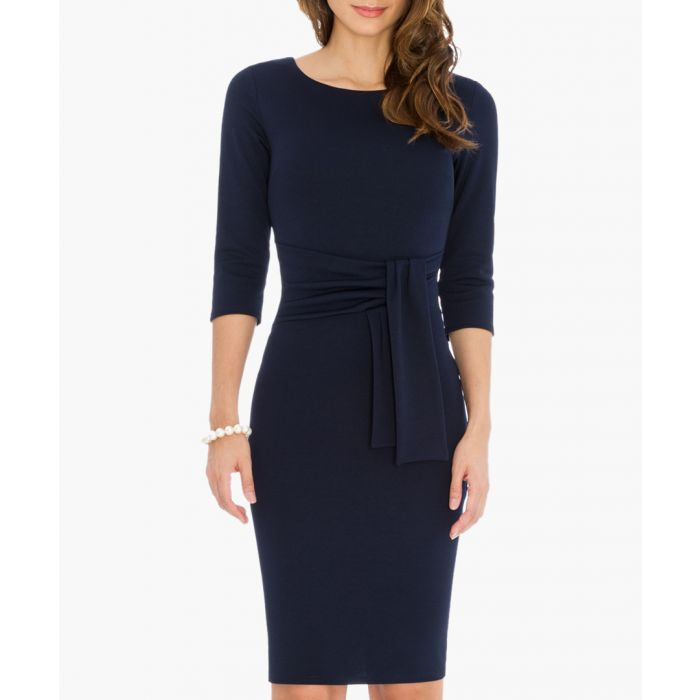 Image for Navy pencil dress with a tie detail