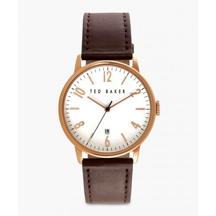 Image for Brown leather and PVD rose gold-plated watch