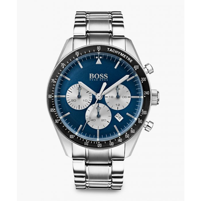 Image for Blue and silver-tone steel watch