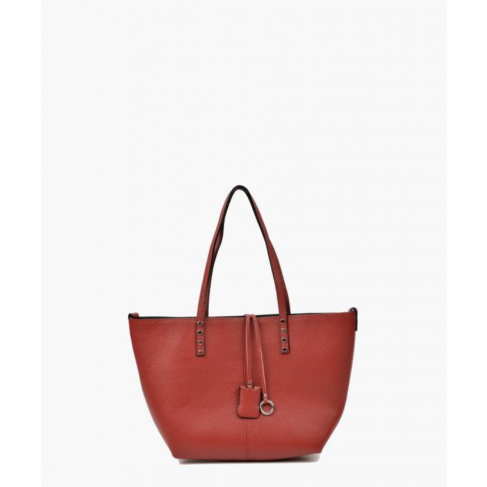 Image for Red leather shopper