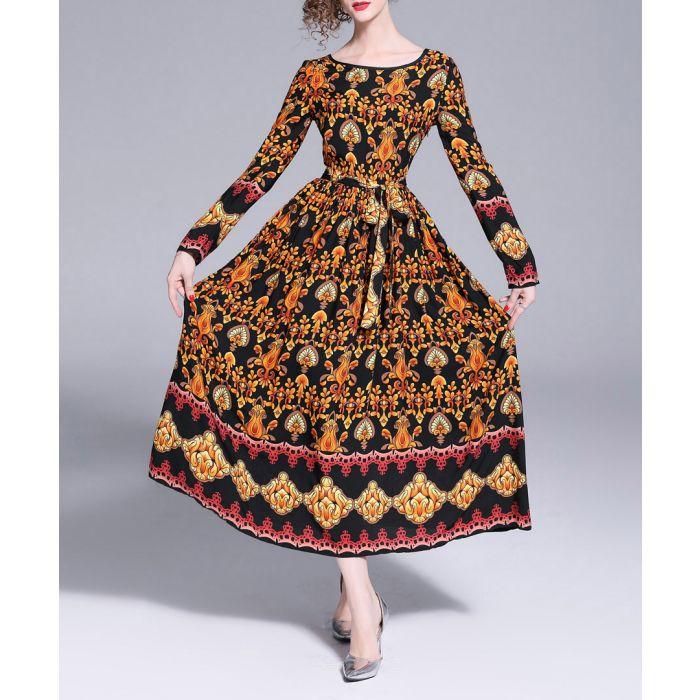 Image for Black & orange regal print maxi dress