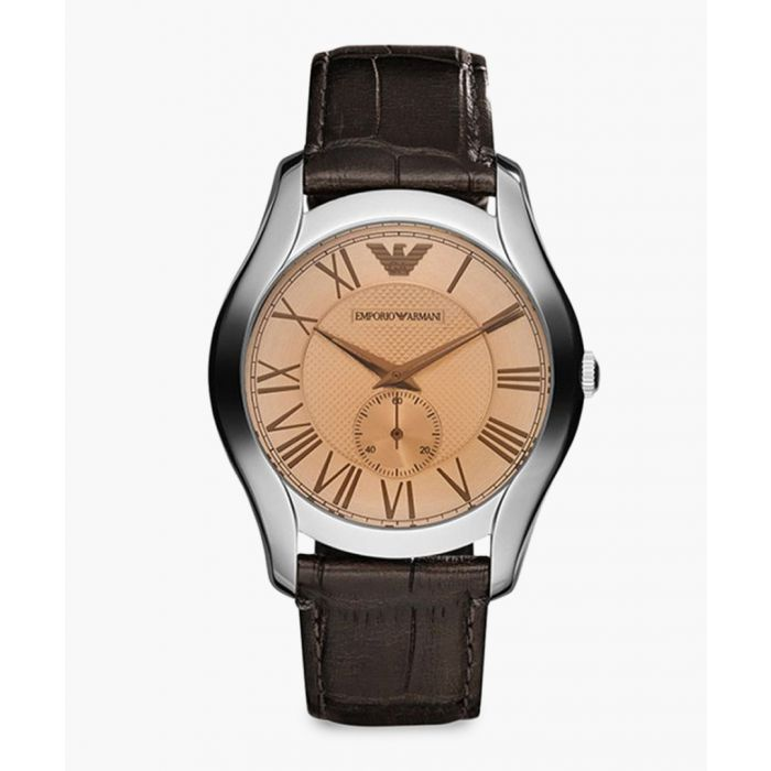 Image for Stainless steel and brown leather watch