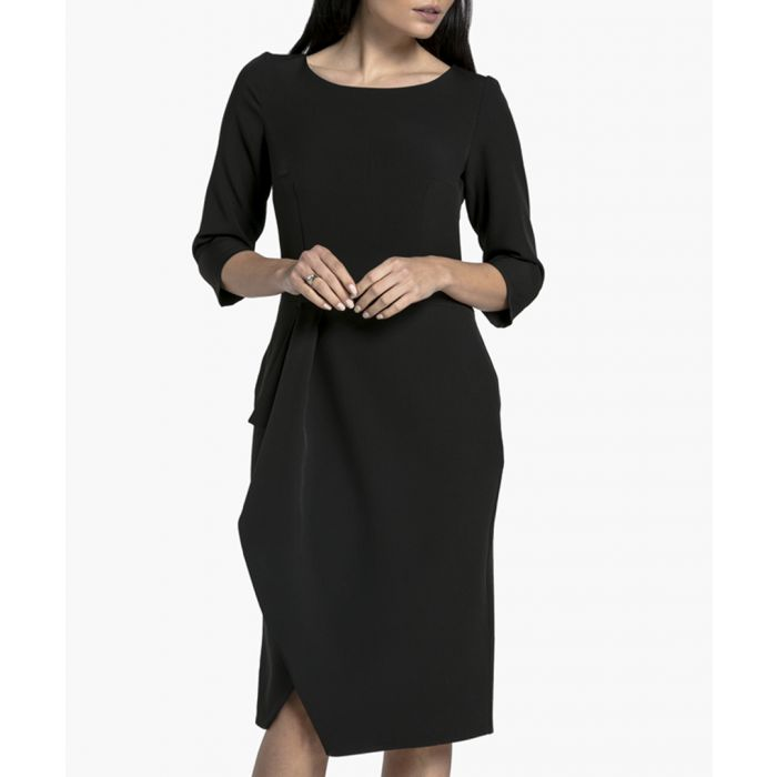 Image for Black half-sleeve midi dress