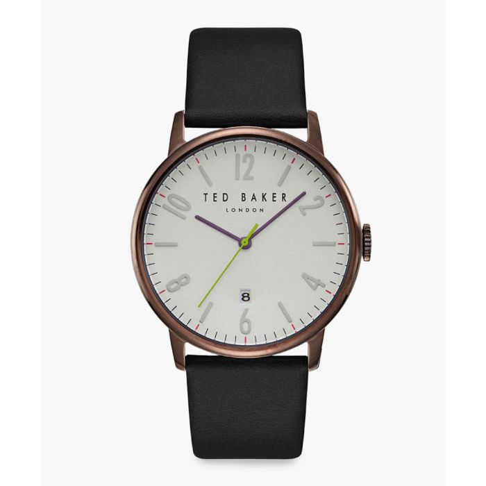 Image for Daniel black leather and PVD-plated stainless steel watch