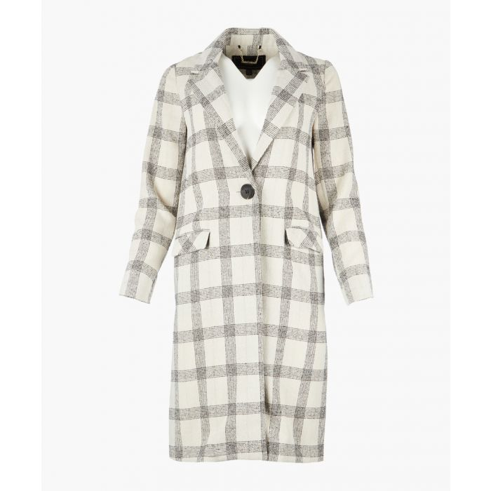 Image for White check duster coat