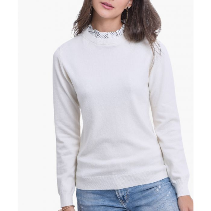 Image for White cashmere and silk blend jumper