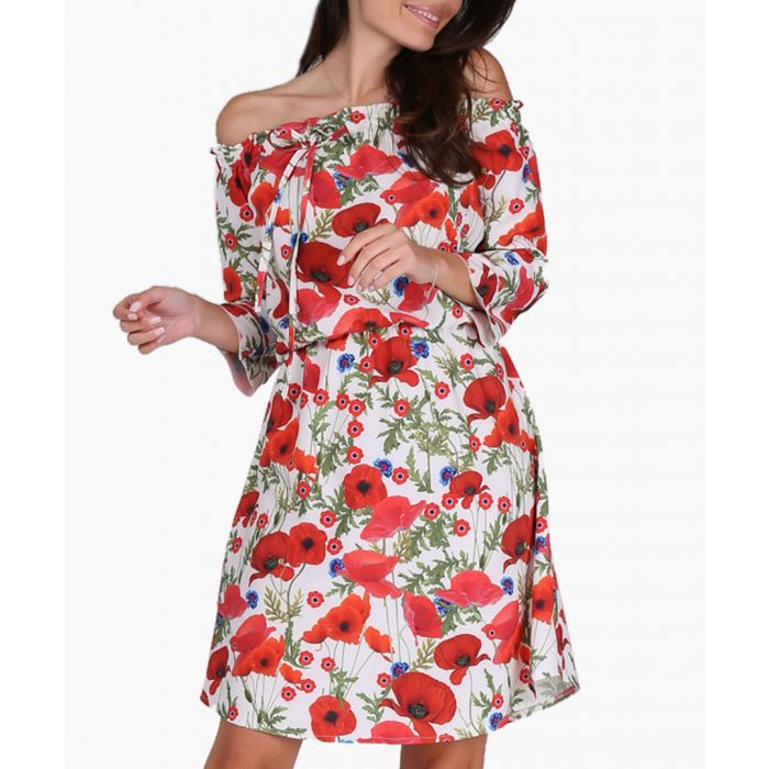 Image for Red & Poppies Woven Dress
