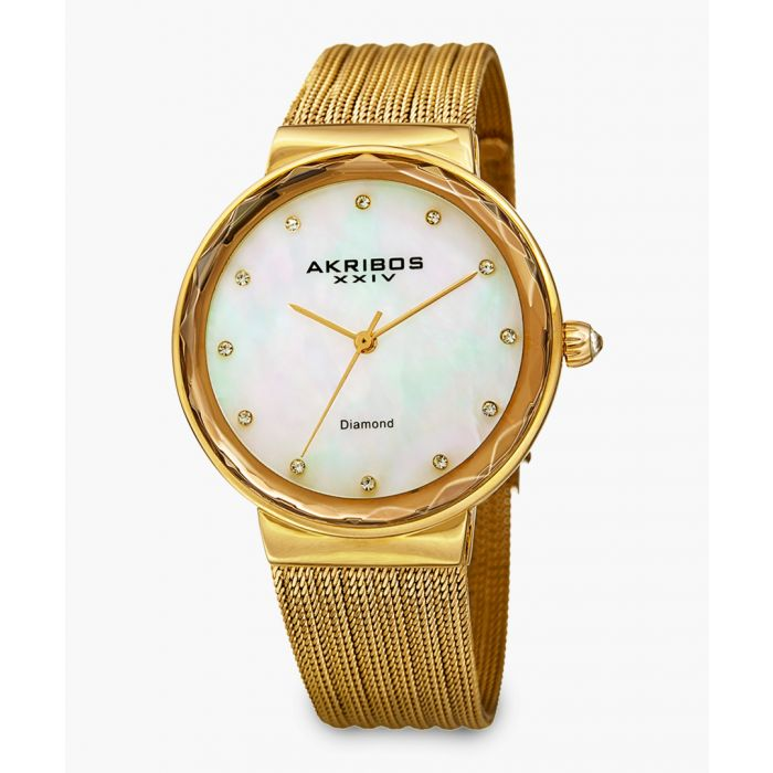 Image for Gold-tone, mother-of-pearl and diamond watch