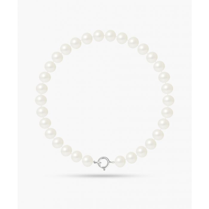 Image for Gold-plated and natural white freshwater pearl round bracelet